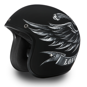 DOT Daytona Cruiser Love It Or Leave It Open Face Motorcycle Helmet - SKU LL-DC6-L-DH - Leather Lollipop