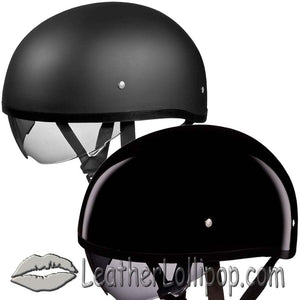 DOT Skull Cap Motorcycle Helmet With Inner Shield in Flat or Gloss Black - SKU LL-DS8-A-B-DH - Leather Lollipop