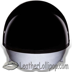 DOT Skull Cap Motorcycle Helmet With Inner Shield in Flat or Gloss Black - SKU LL-DS8-A-B-DH