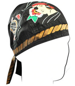 Pirate Girl Bandana Head Wrap Durag for Bikers - SKU LL-Z677-HI - Leather Lollipop