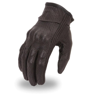 Mens Rubberized Knuckle Protection Perforated Leather Gloves - SKU LL-FI134GL-FM - Leather Lollipop