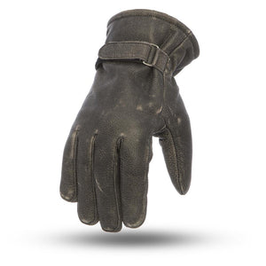 Teton Distressed Black Leather Motorcycle Gloves - SKU LL-FI205-FM - Leather Lollipop