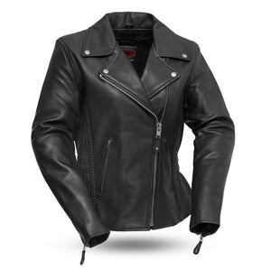 Allure - Women's Leather Motorcycle Jacket - FIL103MNZ - Leather Lollipop