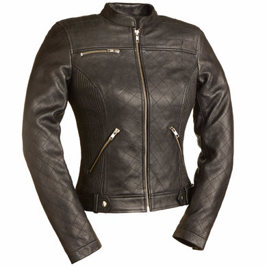 Queen of Diamonds - Women's Motorcycle Leather Jacket - FIL115SCZ - Leather Lollipop