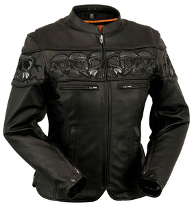 Sacred Skulls - Women's Motorcyle Leather Jacket - FIL181CSLZ - Leather Lollipop