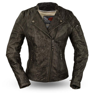 Jasmin - Women's Distressed Buffalo Leather Motorcycle Jacket - FIL193KCZ - Leather Lollipop