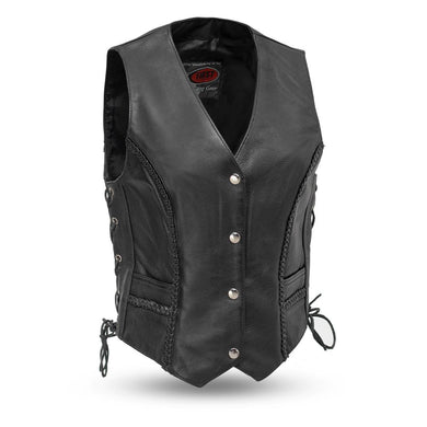 Trinity - Women's Leather Motorcycle Vest - Leather Lollipop