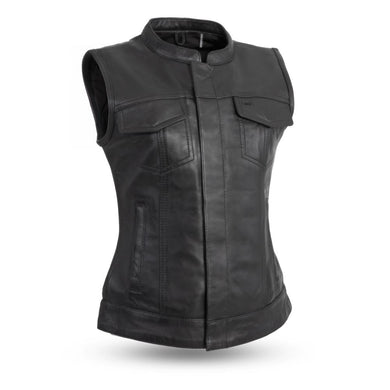 Ludlow - Leather Motorcycle Club Vest for Women - SKU LL-FIL516SDC-FM - Leather Lollipop