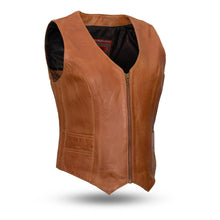 Savannah - Women's Motorcycle Vest in Whiskey or Black - SKU LL-FIL544SDM-FM - Leather Lollipop