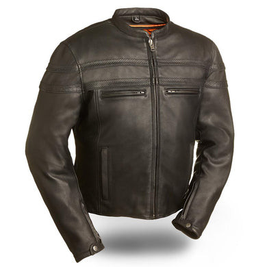 Stakes Racer - Men's Motorcycle Leather Jacket - FIM226CCBZ - Leather Lollipop