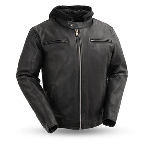 Street Cruiser - Men's Motorcycle Leather Jacket With Hood - FIM248CCBZ - Leather Lollipop