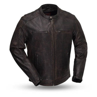 Hipster - Men's Motorcycle Distressed Black Leather Jacket - FIM253SDC - Leather Lollipop