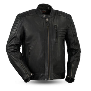 Defender - Men's Leather Motorcycle Jacket - FIM293CHRZ - Leather Lollipop