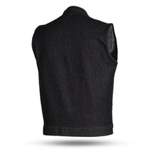 Kershaw - Men's Denim Motorcycle Vest - Black - Leather Lollipop