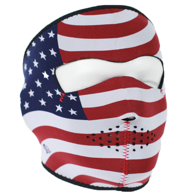 USA Flag Stars and Stripes Neoprene Full Face Mask - SKU LL-FMB05-HI - Leather Lollipop