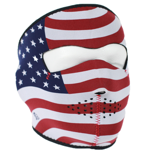 USA Flag Stars and Stripes Neoprene Full Face Mask - SKU LL-FMB05-HI