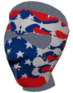 Full Face Neoprene Face Mask with American Flag Flames - SKU LL-FMF04-MSK-US-FLAME-HI - Leather Lollipop