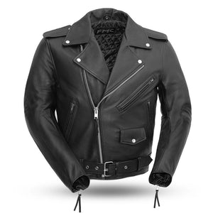 Superstar - Men's Leather Motorcycle Jacket - FMM200BMP - Leather Lollipop