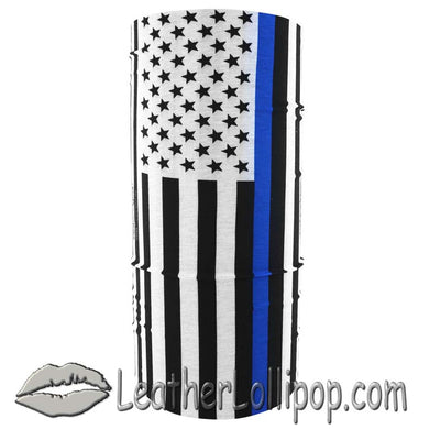 Fleece Motley Tube Face Mask - Neck Warmer- Thin Blue Line Design - SKU LL-FMR20-TUBE-HI - Leather Lollipop
