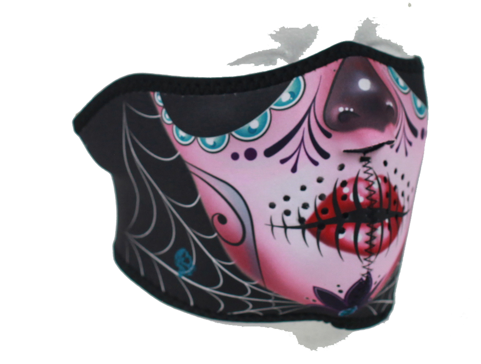 Half Mask Made of Neoprene Sugar Skull Design - SKU LL-FMS11-WNFM082H-HI
