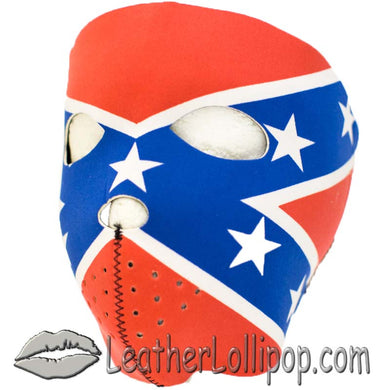 Full Face Neoprene Face Mask with Rebel Flag - SKU LL-FMT14-REBEL-HI - Leather Lollipop