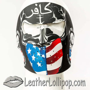 Full Face Neoprene Face Mask with Infidel Warned About - SKU LL-FMY06-INFIDEL-HI - Leather Lollipop