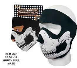 3D Skull Mouth Neoprene Full Face Mask - SKU LL-3DSKULL-HI - Leather Lollipop