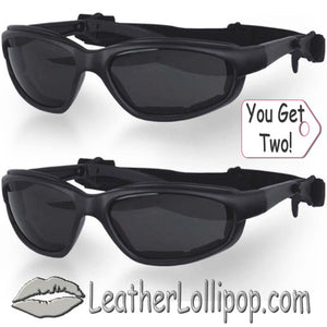 BOGO - His and Hers Daytona Goggles With Smoke Lens - SKU LL-G-S-HH-DH - Leather Lollipop