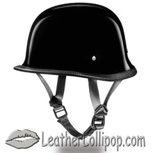 DOT German Motorcycle Helmet Flat or Gloss Black - SKU LL-G1A-G1B-DH