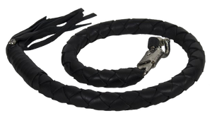 3 Inch Fat Get Back Whip in Black Leather - Motorcycle Accessories - SKU LL-GBW1-11-T2-DL - Leather Lollipop