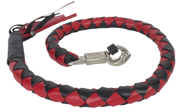 3 Inch Fat Get Back Whip in Black and Red Leather - Motorcycle Accessories - SKU LL-GBW6-11-T2-DL - Leather Lollipop