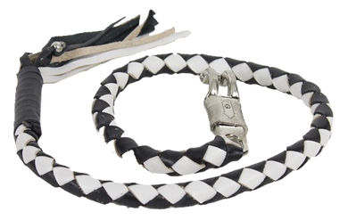 2 Inch Fat Get Back Whip in Black and White Leather - Motorcycle Accessories - SKU LL-GBW7-11-T1-DL