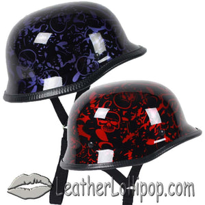 German Novelty Motorcycle Helmet Boneyard Colors - SKU LL-BY-GERM-NOV-HI - Leather Lollipop