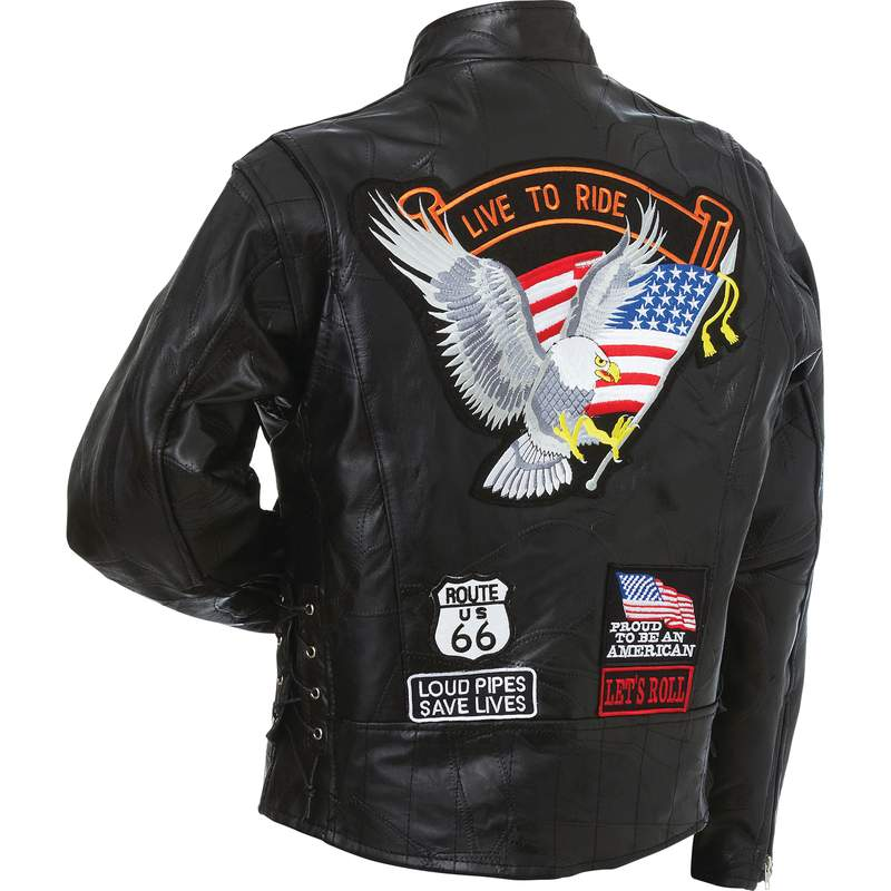 Mens Diamond Plate Patchwork Leather Motorcycle Jacket With Patches - SKU LL-GFCRLTRS-BN - Leather Lollipop