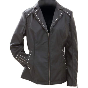 CLOSEOUT! Ladies Faux Leather Jacket with Studs - SKU LL-GFJPS-BN