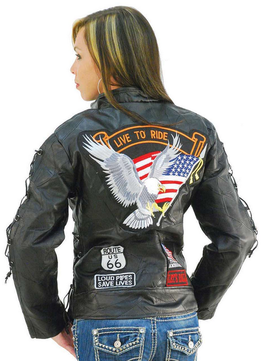 Ladies Diamond Plate Patchwork Leather Motorcycle Jacket With Patches - SKU LL-GFLADLTRS-BN - Leather Lollipop