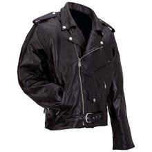 Mens Diamond Plate Patchwork Leather Motorcycle Jacket - Big Sizes - SKU LL-GFMOT3X-7X-BN - Leather Lollipop