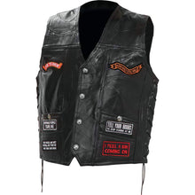 Mens Diamond Plate Patchwork Leather Vest With Concealed Carry - 16 Patches - SKU LL-GFV16-BN
