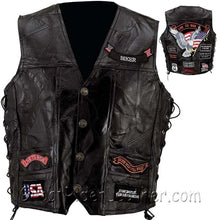 Mens Diamond Plate Big Sizes Patchwork Leather Vest With Concealed Carry - Up To Size 7XL - 14 Patches - SKU GRL-GFVBIK14-BN - Leather Lollipop