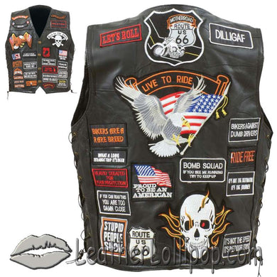 Mens Diamond Plate Patchwork Leather Vest With 42 Patches - SKU LL-GFVBIK42-BN - Leather Lollipop
