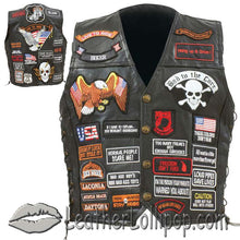 Mens Diamond Plate Patchwork Leather Vest With 42 Patches - SKU LL-GFVBIK42-BN