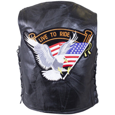 Diamond Plate Patchwork Buffalo Leather Vest With Eagle Patch - SKU GRL-GFVBIKEAG-BN - Leather Lollipop