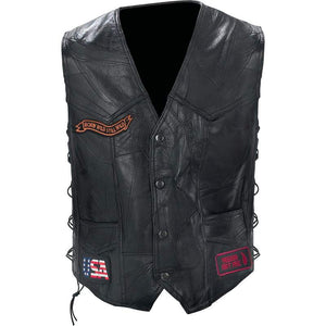 Diamond Plate Patchwork Buffalo Leather Vest With Patches - SKU GRL-GFVBIKE-BN - Leather Lollipop