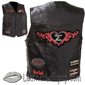 Diamond Plate Ladies Patchwork Leather Vest with Many Patches - SKU LL-GFVLADY-BF