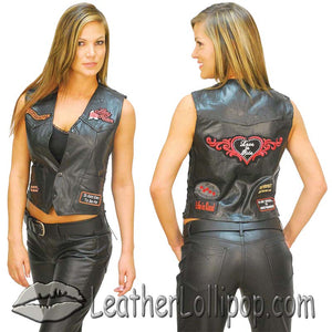 Diamond Plate Ladies Patchwork Leather Vest with Many Patches - SKU LL-GFVLADY-BF - Leather Lollipop