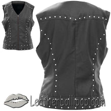 Giovanni Navarre Tailored Ladies Faux Leather Vest with Studs Design - SKU LL-GFVPS-BF