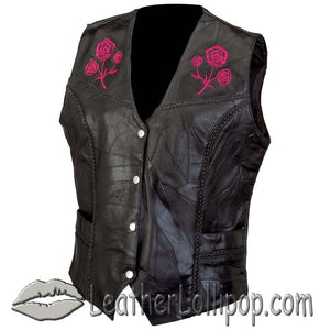 Ladies Patchwork Leather Vest with Embroidered Roses - SKU LL-GFVROSE-BF