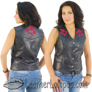 Ladies Patchwork Leather Vest with Embroidered Roses - SKU LL-GFVROSE-BF - Leather Lollipop