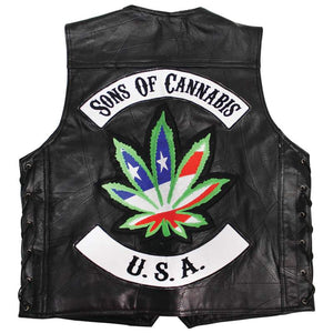 LIMITED QUANTITIES - Be A Rebel Patchwork Buffalo Leather Vest With Sons Of Cannabis Patch - SKU GRL-GFVSOC-BN - Leather Lollipop