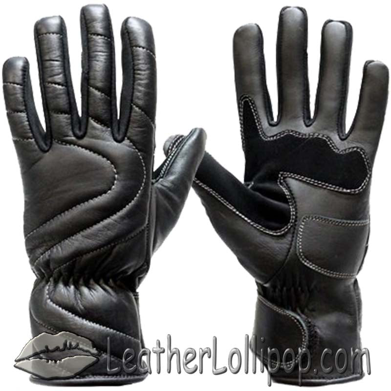 Lined Leather Motorcycle Riding Gloves For Colder Weather - SKU LL-GG18-DL